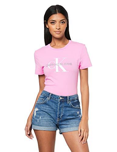 Calvin Klein Jeans Damen Shirt Monogram Logo Slim FIT Tee rosa M (Klein Jeans Shirt Calvin)