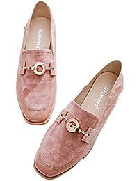 Mocasines Primavera Nuevo Viento Británico Cabeza Cuadrada Retro Salvaje Plana Lok Fu Zapatos Solo Zapatos Mujeres