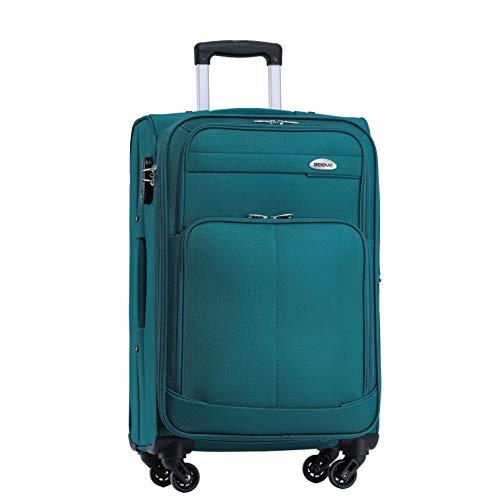 BEIBYE 4 Rollen Reisekoffer 3tlg.Stoffkoffer Handgepäck Kindergepäck Gepäck Koffer Trolley Set-XL-L-M (Turquoise, M-Handgepäck-54cm)