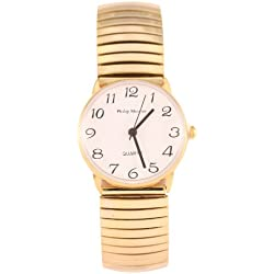 Philip Mercier Women's Quartz Watch with White Dial Analogue Display and Gold Bracelet MC46/A