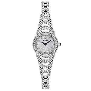 Bulova Crystal Women's Quartz Watch with Silver Dial Analogue Display and Silver Stainless Steel Bracelet 96L139