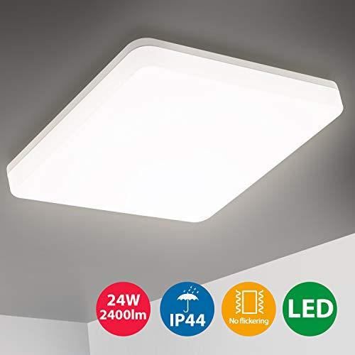 Oeegoo LED Deckenleuchte Badlampe, 24W 2400LM Flimmerfrei Deckenlampe Ersetzt 200W Glühbirne, IP44 Wasserdicht Badezimmerlampe Wohnzimmerlampe Schlafzimmerlampe Küchenlampe Bürodeckenleuchte 4000K