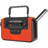 Keenso Radio de manivela Solar multifunción, manivela Solar multibanda Am/FM/SW Tarjeta Bluetooth Radio enchufable lámpara de Linterna LED portátil(Rojo)