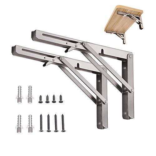 Fortspang, staffe pieghevoli per mensole, resistenti, da parete, pieghevoli, in acciaio inox lucido, con braccio a sgancio corto (confezione da 2)