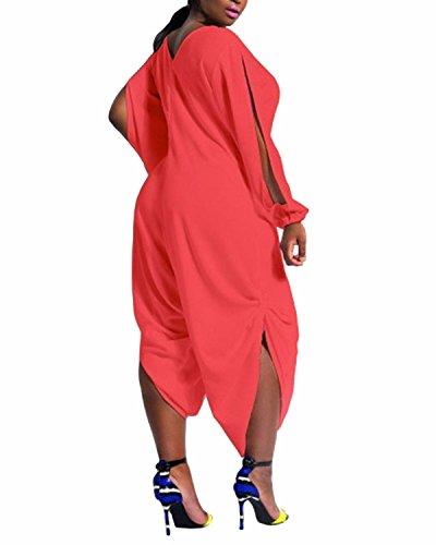 ZANZEA Femme Col V Manches Longues Sexy Lâce Large Casual Combinaison Jumpsuit Playsuit Salopette Romper Rouge