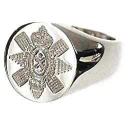 Bickerton Jewellery New 9ct white gold Men's Solid BLACK WATCH Seal Style Signet Ring. Excellent quality.