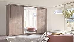 HomeDirectLTD Schiebetürenschrank Berra Schrank Spiegel Möbel Kleiderschrank Modernes Design Schiebetüren Schlafzimmer Kinderzimmer Jugendzimmer Matt Sonoma (Korpus: Sonoma/Front: Sonoma)