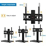 Perlegear Table Top TV Stand for 37-55 Inch LCD/LED TVs-Securely Holds 40 KG & Max.VESA 400x400mm-Height Adjustable TV stand with Tempered Glass Base & Wire Management