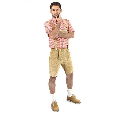 ALMBOCK kurze Lederhose Herren Tracht | Lederhose kurz Herren braun mit verstellbaren Hosenträgern | Lederhose kurz Tracht - Lederhose Herren kurz 46 - 2
