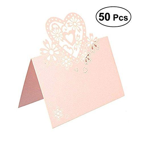ULTNICE 50 Stück hohle heraus Herz-Tabellenkarten Namenskarten Namensschilder für Hochzeitsfest Geburtstagsfeier Bankett Verlobungsfeier, Rosa, 12 * 8CM (L * W)