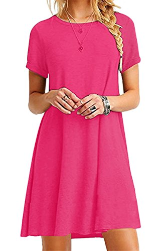 YMING Damen Frühling Sommer Kleid Casual Kurzarm Tunika Rundhals Basic Blusenkeid Mini,Fuchsia,S/DE 36