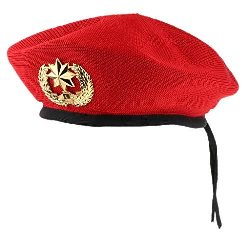 P Prettyia Herren Damen Matrosenmütze Seemannhut Marine Seemann Kostüm für Halloween Party Freizeit - Rot, 56cm