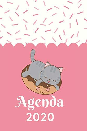 Agenda 2020: Tema Kawaii Interiores Para Colorear I Gatos con Dona Agenda Semanal + Organizador Diario I Planificador Semana Vista 6 x 9 in Ideal para Niñas y Adolescentes
