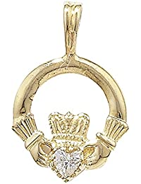 Mens 9ct Gold Cubic Zirconia Set Claddagh Pendant On A Curb Necklace