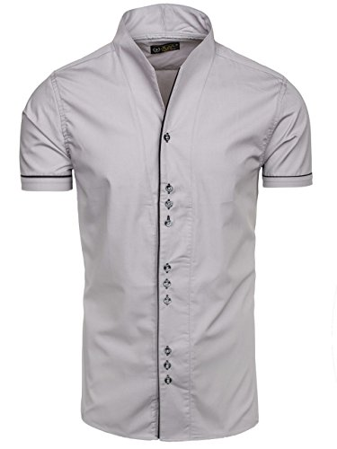 BOLF - Chemise casual – Avec boutons – Homme Gris
