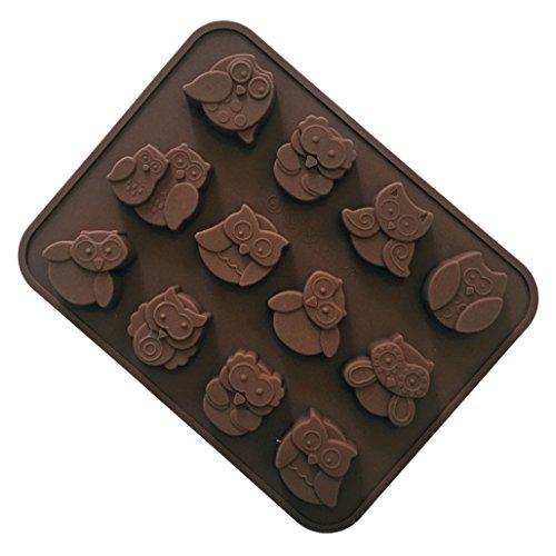Silikon Backform/Muffinform für Muffins, Cupcakes, Kuchen, Pudding, Eiswürfel und Gelee - Eule Brotbackform für eindrucksvolle Kreationen, hochwertige Silikon-Kuchenform ()