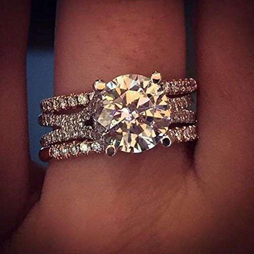 anpingyoupu Wunschrunde Zircon Blumenring Einfache Fashion Impfung Lady Engagement Ring(None 10 - Womens Rainbow Hellen Kostüm