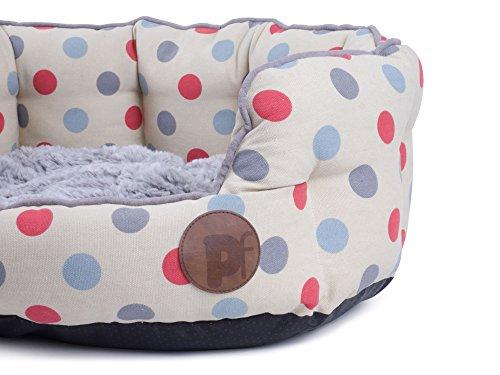 Petface Polka Dots Print Oval Dog Bed, Cream, Medium 3
