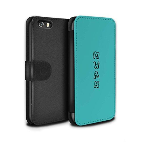 STUFF4 PU-Leder Hülle/Case/Tasche/Cover für Apple iPhone 5/5S / Pack 18pcs Muster / Gekritzel Wörter Kollektion Blau/Mwah