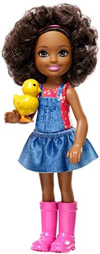 Barbie GCK63 - Farm Chelsea Puppe mit Ente und braunen Haaren, Puppen und Puppenzubehör ab 3 Jahren