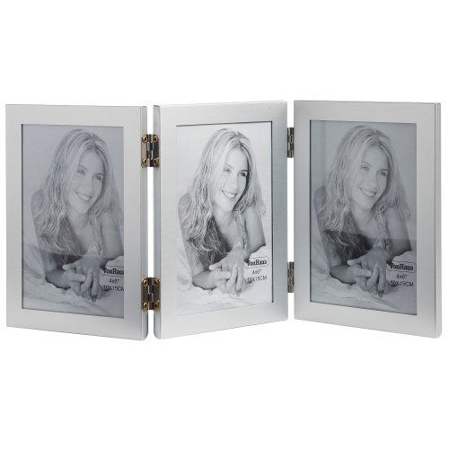 VonHaus Klappbarer Mehrzweck Bilderrahmen Portraitrahmen für 3 Bilder - Silber