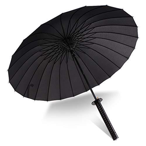 Herren Lange Griff Samurai Regenschirm Mode Schwarz Japanischen Samurai Ninja Schwert Samurai Regenschirm Große Winddicht (Größe : C) (Schwarzen Regenschirm Hut)