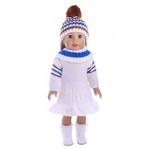 HKFV American Girl Puppe Hut + Schal + Rock dreiteiliger Anzug Rock Hat Schal Dreiteiliger Anzug für 18 Zoll Unsere Generation American Girl Doll (E) (American Girl Puppe Grace Kleider)