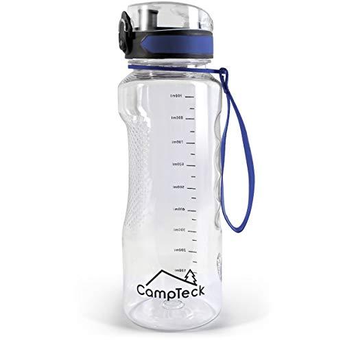 CampTeck U6972 - Borraccia Palestra 1 litro 1000 ml Bottiglia Acqua BPA Free Tritan - Coperchio Flip Lock a Prova di Perdite - con Cinghia di Trasporto. - Blu - 1000 ml (1 litro)