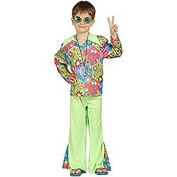 Guirca - Disfraz de chico hippie con pantalón y camiseta, para niños de 7-9 años, multicolor (85604)