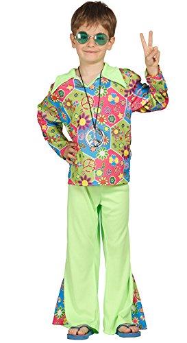 Guirca Kinderkostüm Hippie Kinder 7/9 Jahre, mehrfarbig, 7-9 Jahre (125-135 cm), - 70er Jahre Hippie Mädchen Kostüm