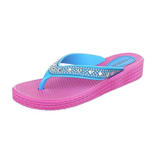 Ital-Design , Escarpins peep-toe femme Pink Blau