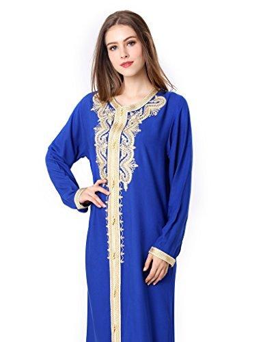musulmano vestito islamico donne raion abaya 1629 Blu
