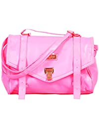 Beautiful Pink Color PU Leather Sling Bag For Women & Girls By Bagris GE01001723