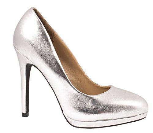Elara Bequeme Pumps | Klassische Lack Stilettos | High Heels Silber 40
