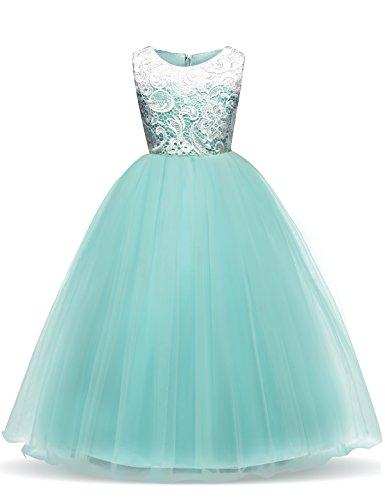 NNJXD Mädchen Ärmellos Tüll Festzug Prinzessin Hochzeit Blume Party Kleider Größe(120) 3-4 Jahre Grün (Blume-mädchen-kleider Flauschige)