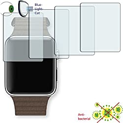 4x Disagu ClearScreen Screen Protector for Apple Watch (42mm (2016)-Anti-Bacterial Bluel Light Cut Filter (Deliberately Smaller than Display due to Curved Shape)