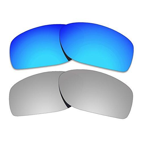 Color Stay Objektiv, 2 Paar, 2,0 mm Dicke, polarisierte Ersatzlinsen, Blau und Titan für Oakley Conductor 8 OO4107