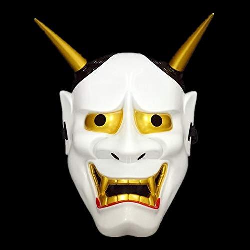Dodom Halloween Dämon Schreckliche Männer Tanzen Fox Prajna Cos Maske Anime Helm PVC Japanische Maske, Weiß