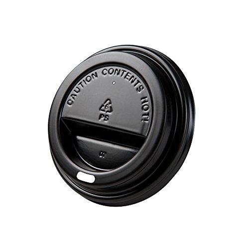 BIOZOYG 50x couvercles à gobelet   pour gobelet en Carton Bio en Restauration Rapide   Ø 90 mm   avec Orifice pour Boire   en PE, pour Recyclage   Noir   Plat