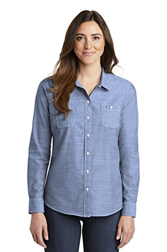 Port Authority Ladies Slub Chambray Shirt Bust Darts