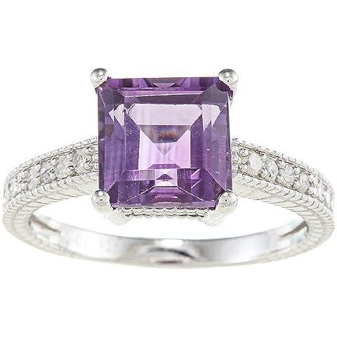 Sterling Argento Ametista e Diamante Anello Quadrato Stile Vintage (1/5TDW)