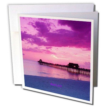 3drose Neapel Pier Florida bei Sonnenuntergang-Grußkarten, 15,2x 15,2cm, Set 12(GC 100491_ 2) -