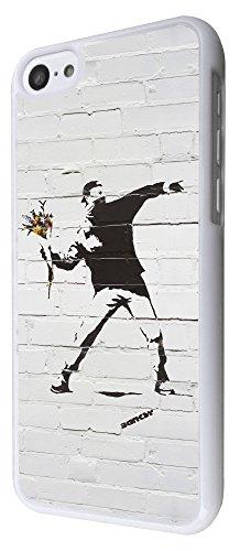 549-Banksy Graffiti Art Wall Funky Flower Thrower Coque iPhone 5C Design Fashion Trend Case Back Cover Métal et Plastique-Blanc