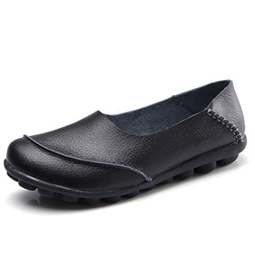 Hishoes Mocasín de Cuero Mujer Loafers Cómodo y Antideslizante Barco Zapatos para Mujer...