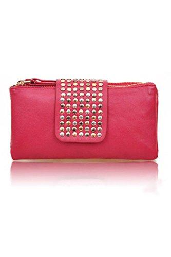 TOOGOO(R) Vendita calda donne dell'unita' di elaborazione del sacchetto di modo del cuoio del ribattino delle donne di modo borsa portafoglio frizioni-albicocca rosso rosa