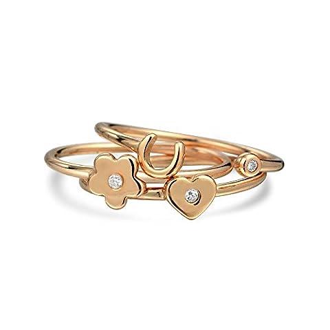 Bling Jewelry pendentif en argent CZ Coeur Flower Lucky Horseshoe plaqué Or Rose Bagues Midi