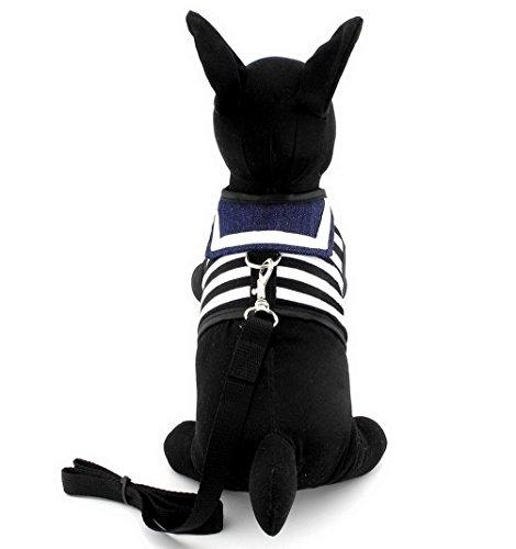 Pegasus Haustier Kleidung für Hunde/Welpen klein Katze gestreift Sailor Weste Geschirr Leine Set Mesh Gepolsterte Leine
