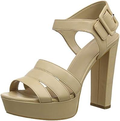 Guess Lylah (Sandal)/Leather, Zapatos de tacón con Punta Abierta para Mujer, Marrón (Medium Brown NATU), 38 EU