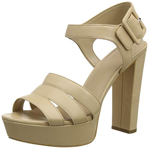 Guess Lylah (Sandal)/Leather, Scarpe col Tacco Punta Aperta Donna, Marrone (Medium Brown Natu), 39 EU