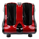 Lukzer Shiatsu Rolling Electric Foot Calf, Kneading, and Leg Massager (Red)